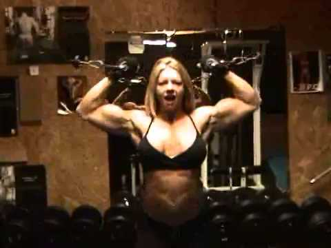 Rebekka Armstrong Biceps Pumping And Posing