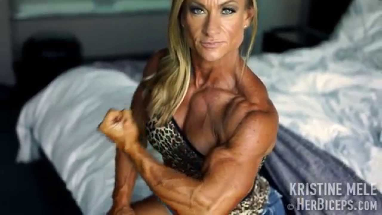 Kristine Mele – Huge Biceps Flexing